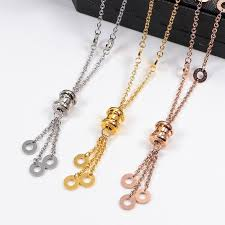 whole necklace with edging rose gold silver color necklace for women vintage collar costume jewelry with original box set pendant silver chain necklace