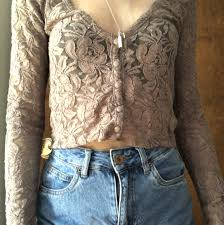 Mocha Light Color Cute 90s Feel Cropped Lace Top