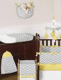 zig zag yellow gray chevron print crib bedding set