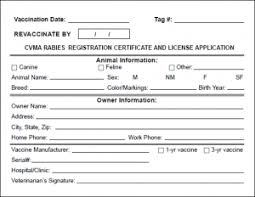rabies vaccination certificate cvma rabies tags