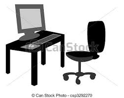 desk clipart black and white. office desk with chair - csp3292270 clipart black and white