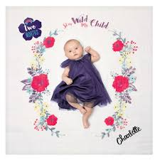 Wild Child Floral Design Lulujo Personalized Babys First Year Stay Wild My Child Floral Flower Print Baby Girl Growth Blanket And Month Milestone Cards Set With Name