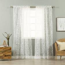 aurora home zebra burnout sheer 84 inch rod pocket curtain pair 54 x 84