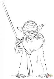 Small Picture Yoda With Lightsaber Coloring Page Free Printable Coloring Pages