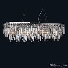 rectangle modern chandelier lighting luxury dining room crystal lamp chrome kitchen island led res de cristal modern chandeliers chandelier lighting