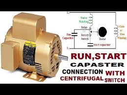 single phase motor connection with centrifugal switch start capacitor run capacitor