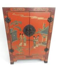 Black laquer furniture White Antique Vintage Chinese Hand Painted Red Lacquered Cabinet 31 Inches Ebay Lacquer Furniture Ebay