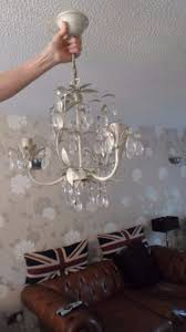 laura ashley lavenham cream and glass 3 light chandelier good condition