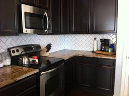 Subway Tile Kitchen Backsplash Dark Cabinets Trendyexaminer