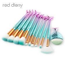 11pcs mermaid shaped makeup brush set big fish l foundation powder makeup brushes eyeshadow contour blending