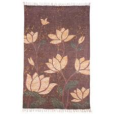 blooming lotuses area rug stone washed cotton 2 x 3