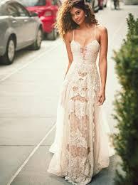 boho dresses wedding. A Line Spaghetti Straps Boho Beach Wedding Dress with Lace Appliques