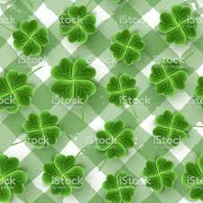 San Patricks Day Patroon Van Realistische Klaver Bladeren Groene