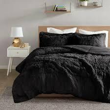 black faux fur plush warm bedding