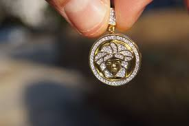 details about diamond small iced out versace style medusa head pendant 14k yellow gold finish