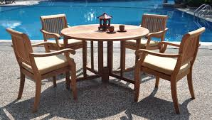 living excellent teak outdoor setting 2 5 piece luxurious grade a dining set 48 round table