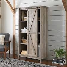 image is loading modern farmhouse storage cabinet rustic gray sliding barn