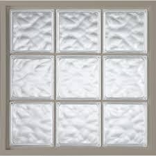 glass block fixed vinyl windows driftwood