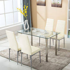 5 piece dining table set w4 chairs glass metal kitchen room breakfast furniture breakfast furniture sets