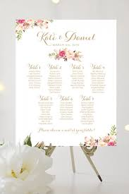 Wedding Seating Chart Large Poster Romantic Blooms