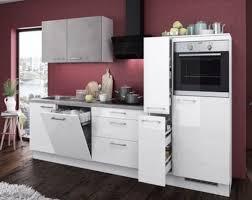 Einbauküche MANKAGLOSS 2 Weiß Hochglanz / Beton Küchenzeile 280 Cm Ohne  Geräte