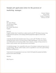Sample Job Application Letter For The Position Marketing Manager