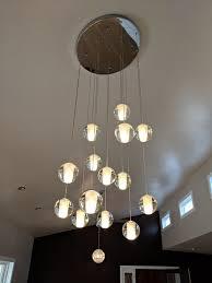 orion 14 light floating glass globe led chandelier chrome finish