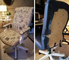 office chair makeover from leather to textile