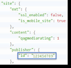 shows an exle of where to find the publisher object s id attribute in the