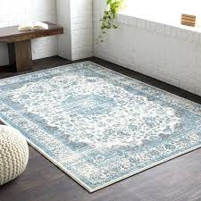 medium gray teal area rug and cream brown