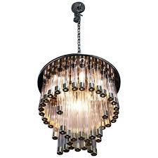 mid century modern chrome and glass chandelier elegance