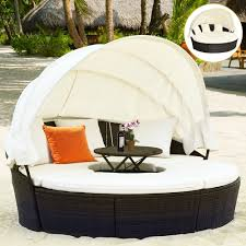 costway round retractable canopy daybed