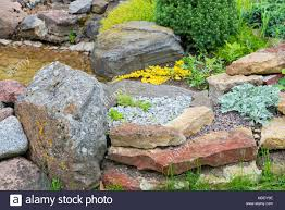 Rock Garden Plans Designs Modern Garden Design Rock Garden In Summer Stock Photo