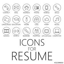 Resume Icons Amazing Thin Line Icons Pack For CV Resume Job Buy This Stock