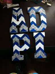 adpi wooden sorority letters with chevron and glitter