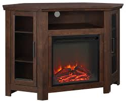 we furniture 48 wood corner fireplace media tv stand console transitional entertainment centers and tv stands by here2