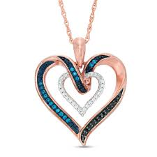 t w enhanced blue black and white diamond heart pendant in sterling silver with 14k rose gold plate