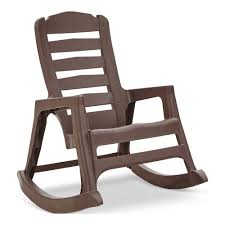 Adams Manufacturing <b>Brown</b> Stackable Plastic <b>Rocking Chair</b>(s ...