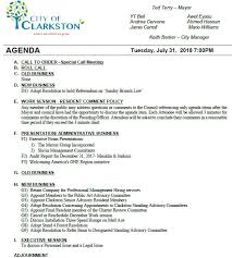 Work Meeting Agenda City Council Work Session Special Call Meeting Agenda 7 31