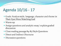 ib agenda ibso presentation ppt  53 agenda 10 goals analyze style language character and theme in their eyes were watching god