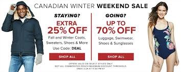 hudson s bay canada winter weekend extra 25 off sweaters coats more bogo 50 off swimwear more