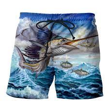 2019 Summer Mens Casual Fish Shorts Big Jump Blue Marlin With Mahi 3d Printed Elastic Short Trousers From Odalis 32 49 Dhgate Com