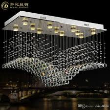 modern rectangular crystal chandelier lamp re de cristal lamparas led light ac110 240v foyer chandeliers promotion s simple chandelier ship