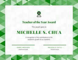 Principal Award Certificate Teacher Of The Year Award Certificate Templates By Canva