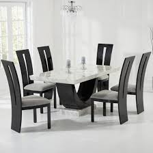 allie marble dining table in cream with 6 ophelia grey chairs