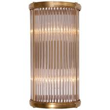 home 220 volt allen small linear sconce in natural brass