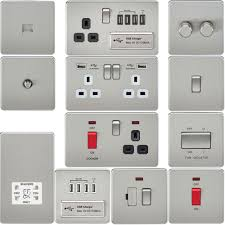 Brushed Steel Light Switches And Sockets Screwless Flat Plate Electrical Light Switches Plug