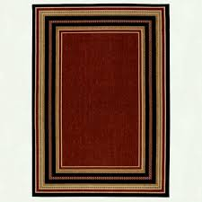 hampton bay border chili red and beige ft in x outdoor rugs