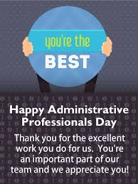 Admin Professionals Day Cards Youre The Best Happy Administrative Professionals Day Card