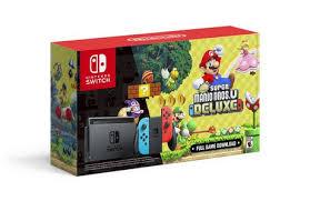 <b>Nintendo</b> Switch™ w/ Neon Blue & Neon Red Joy-Con + <b>New Super</b> ...